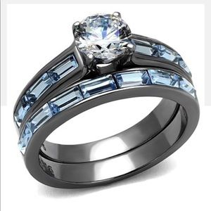 2.85Ct Clear & Sea Blue Cz Gray Stainless Steel